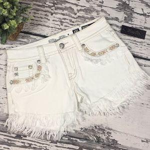 Miss Me White Frayed Jean Shorts • Sz 27